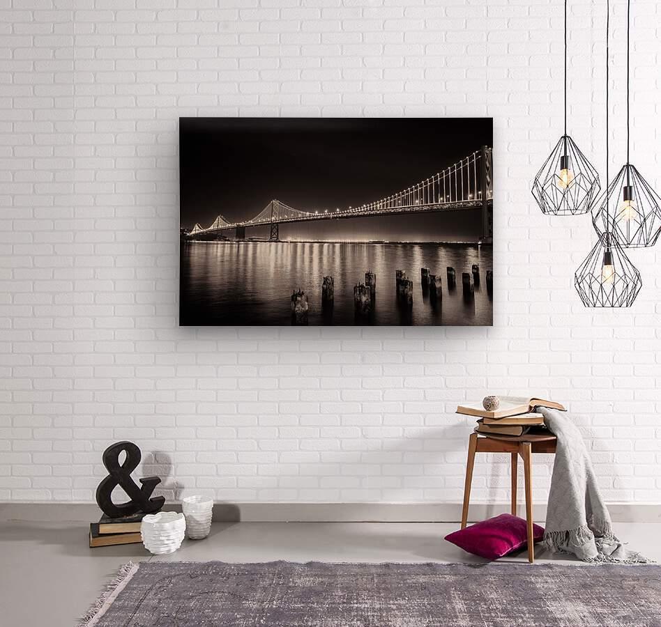 Bay Bridge Black & White  Wood print