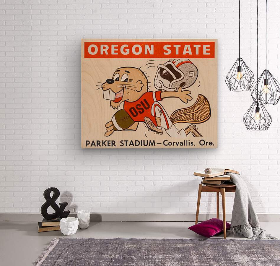 1970 Oregon State Beaver Ticket Stub Remix Art  Wood print