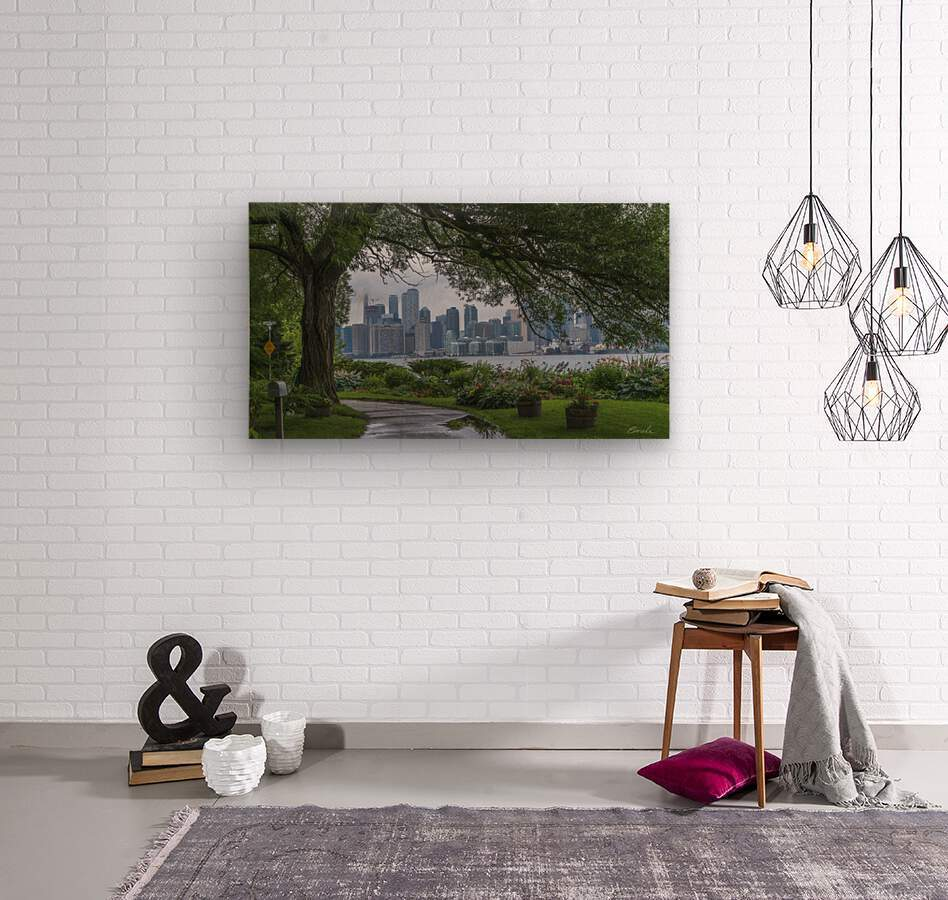Downtown Toronto seen from Wards Island  Wood print