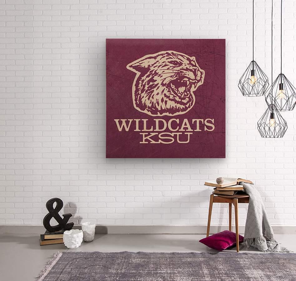 Retro Eighties KSU Wildcats Art  Wood print
