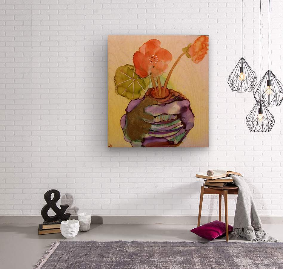 Orange Nasturiums  Impression sur bois