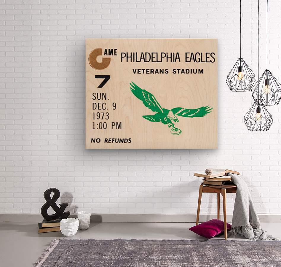 1973 Philadelphia Eagles Ticket Stub Remix Art  Wood print