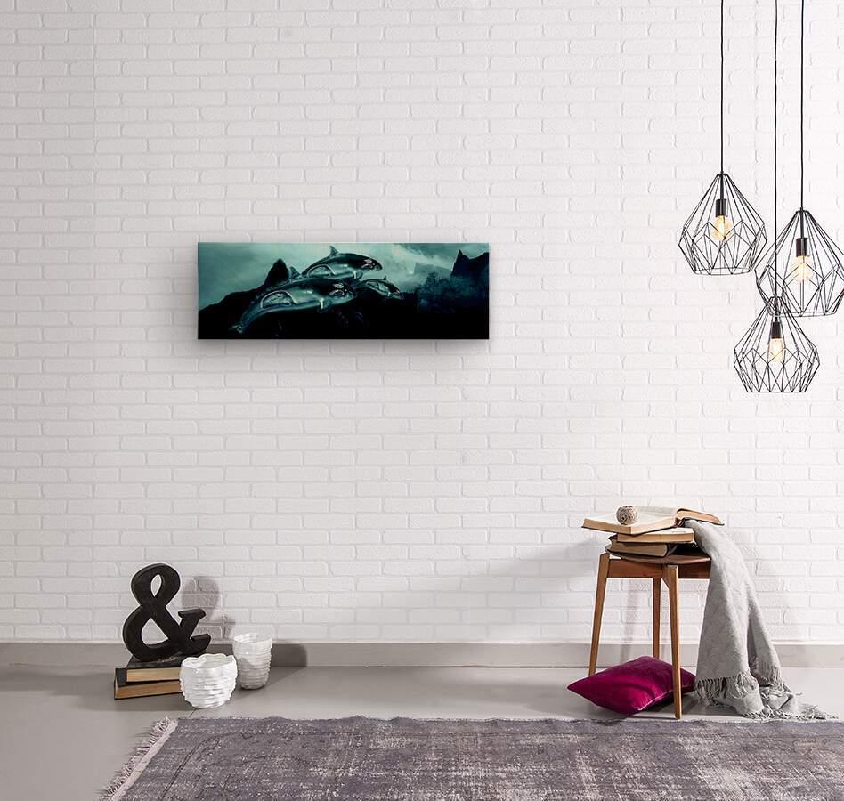 ORCAS LUNARES WIDE 4  Wood print
