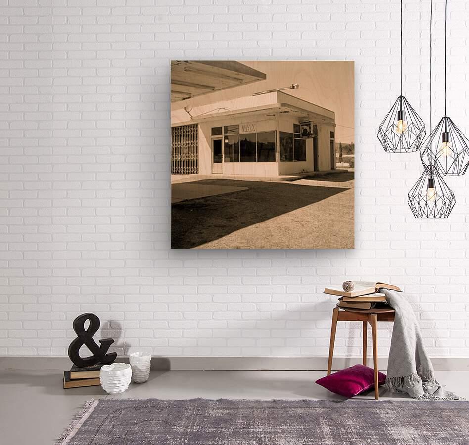 Urban Loneliness - The Gas Station  Wood print