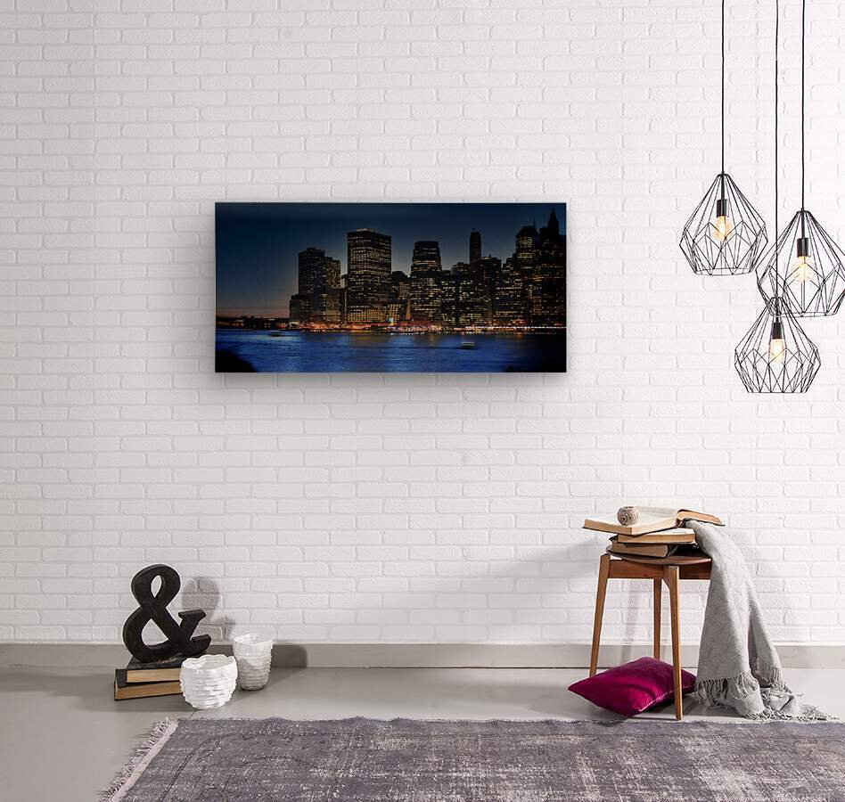 Brooklyn   USA Skyline  Wood print