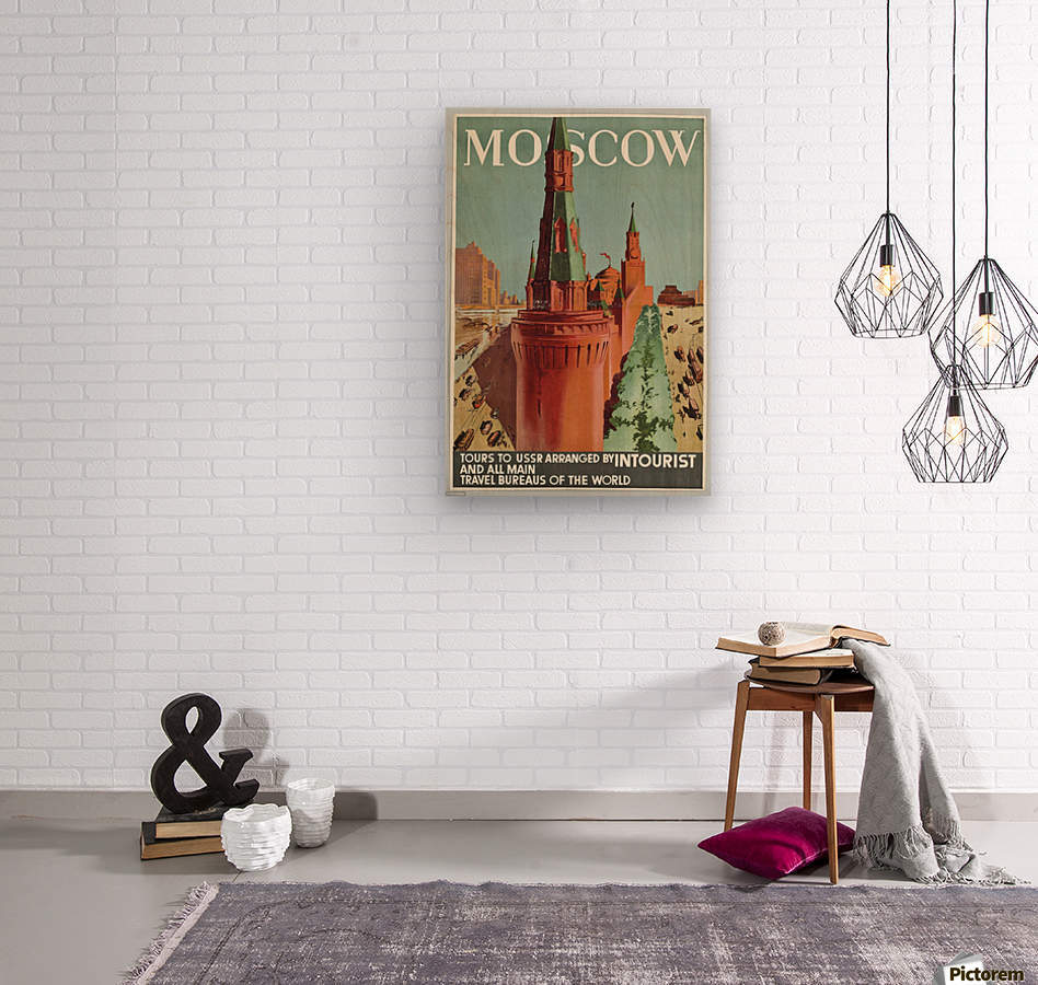 Moscow Vintage Travel Poster  Wood print