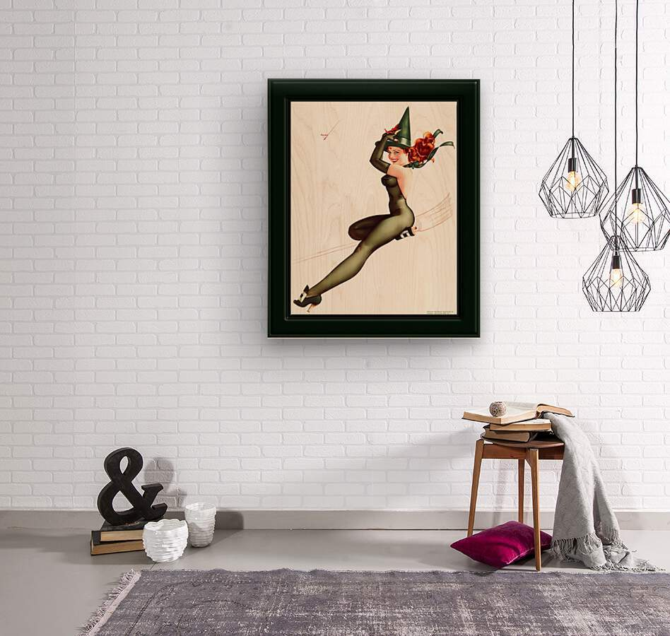 Witch On A Broomstick by George Brown Petty Vintage Xzendor7 Old Masters Artwork Reproductions  Wood print