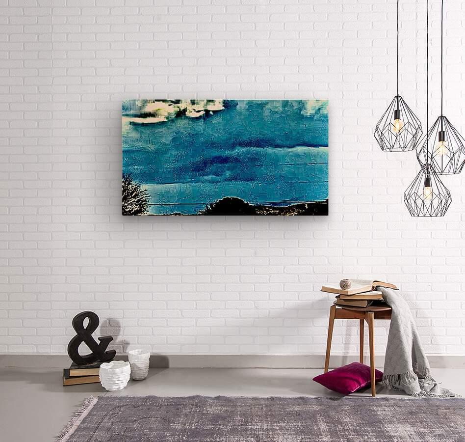 Blue Magnetic Wall  Wood print