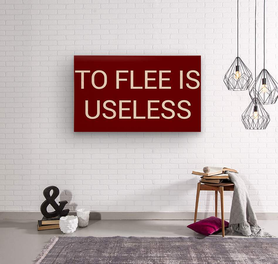 TO FLEE IS USELESS blood red by Lenie Blue  Wood print