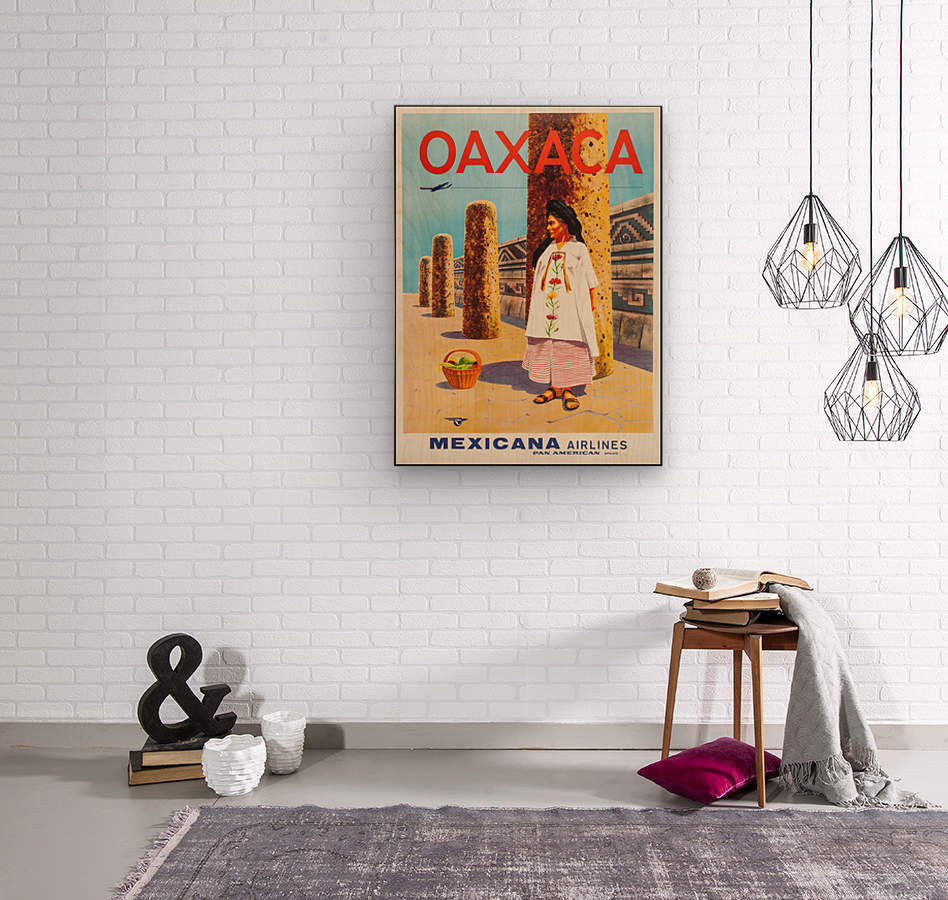 Mexicana Airlines Oaxaca travel poster  Wood print