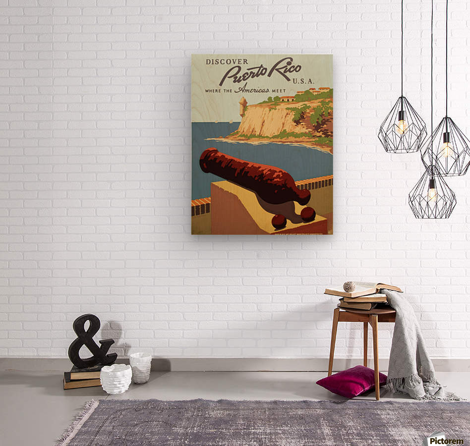 Discover Puerto Rico USA travel poster  Wood print