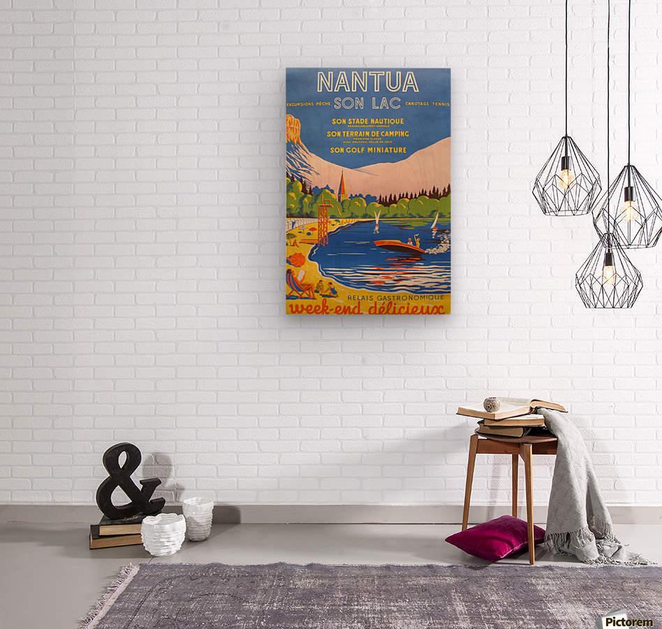 Vintage French Travel Poster for Nantua  Wood print