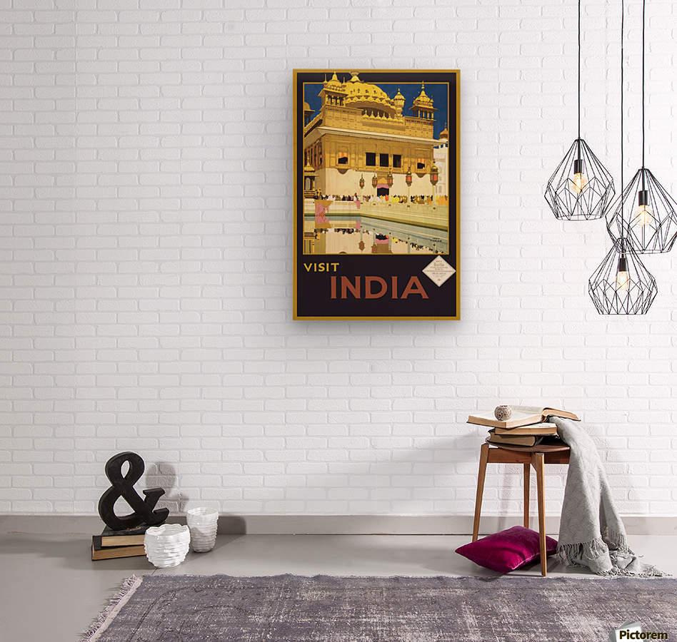 Visit India vintage travel poster  Wood print