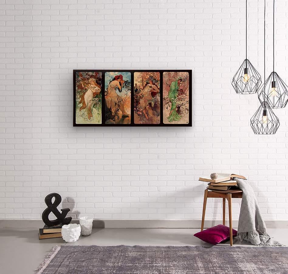 Seasons by Alphonse Mucha Art Nouveau Xzendor7 Old Masters Art Reproductions  Wood print