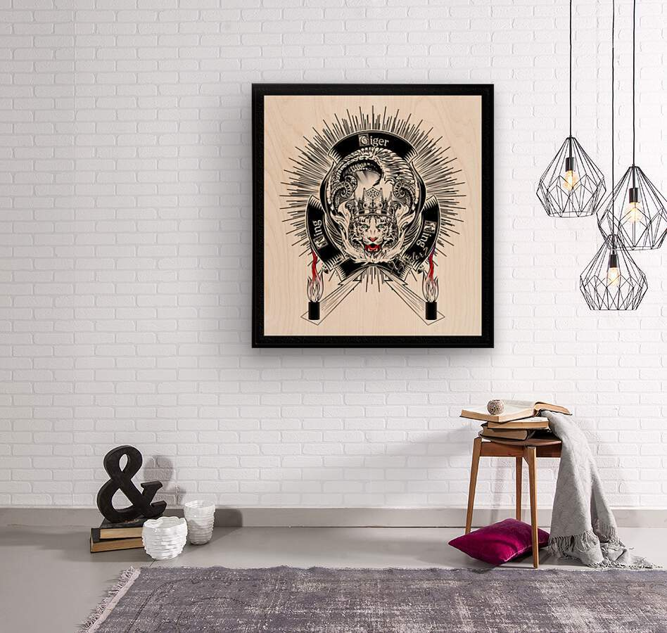 White Tiger King Tiger Art Emblem by Xzendor7  Wood print