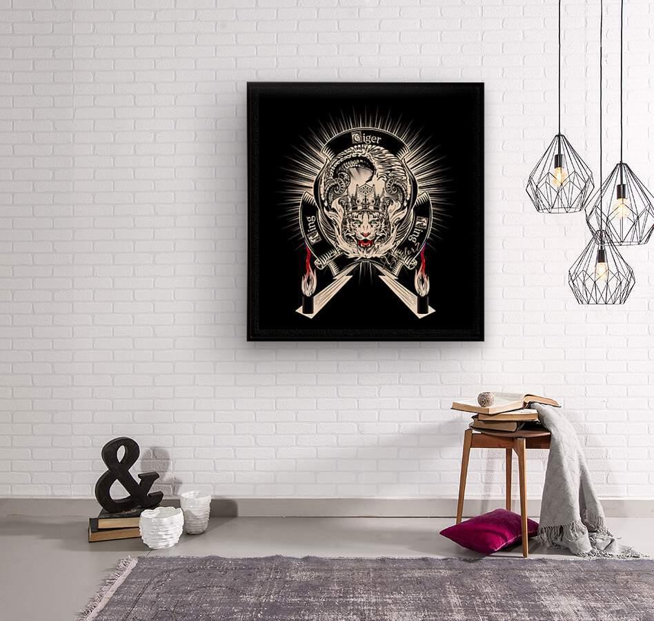 White Tiger King Tiger Art Emblem BlkBgnd by Xzendor7  Wood print