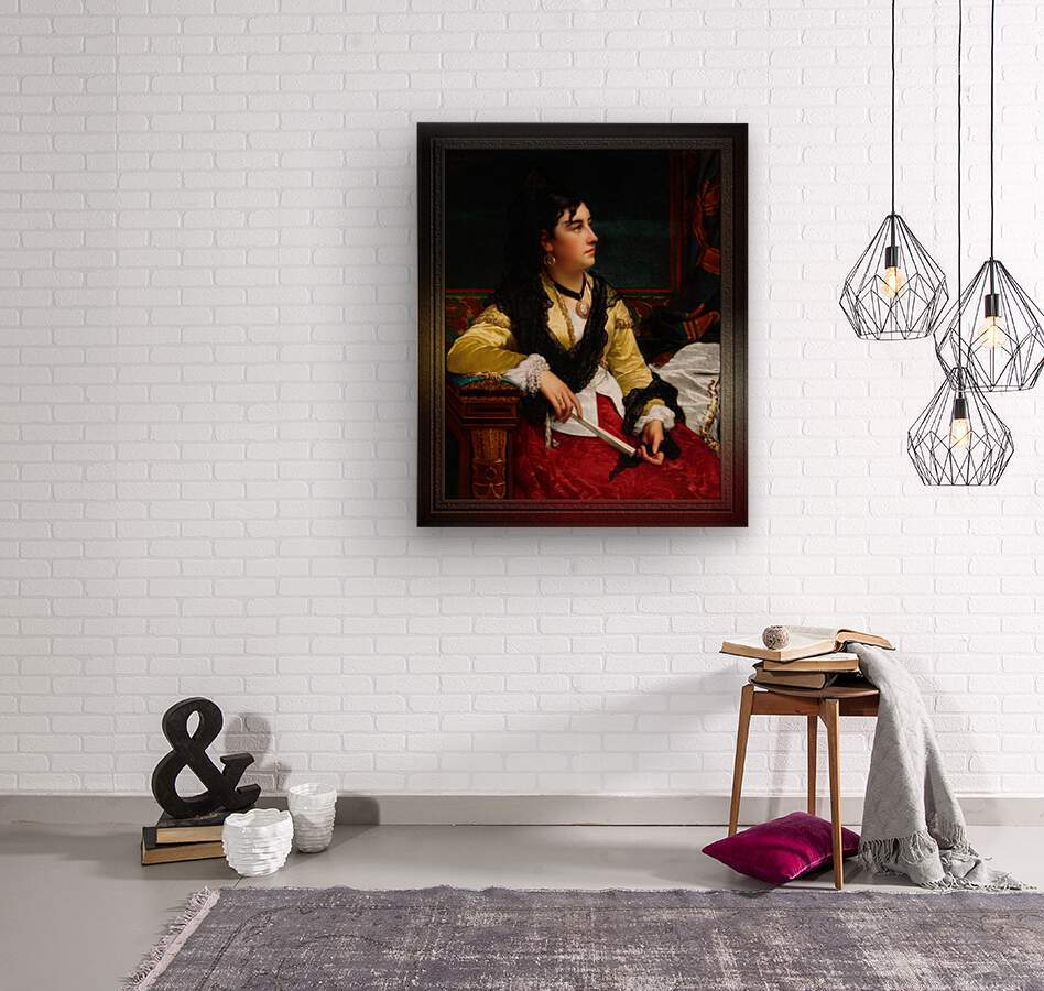 Portrait Of A Noblewoman Holding A Fan by Jan Frederik Pieter Portielje Classical Fine Art Xzendor7 Old Masters Reproductions  Wood print