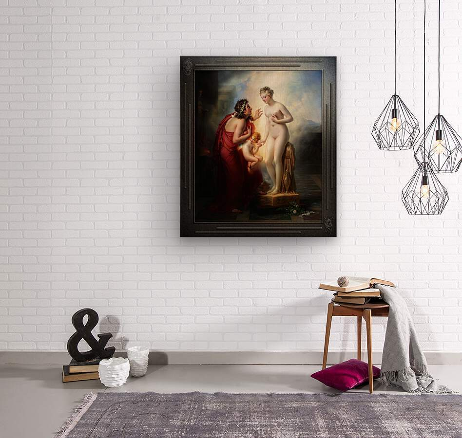 Pygmalion et Galatee byAnne-Louis Girodet-Trioson Classical Fine Art Xzendor7 Old Masters Reproductions  Wood print