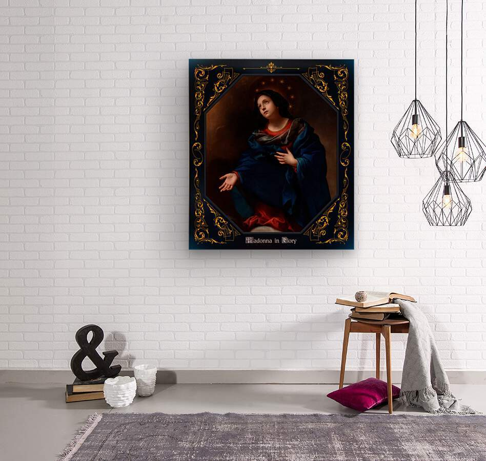 Madonna in Glory by Carlo Dolci Blue Gold Border Xzendor7 Old Master Art Reproductions  Wood print