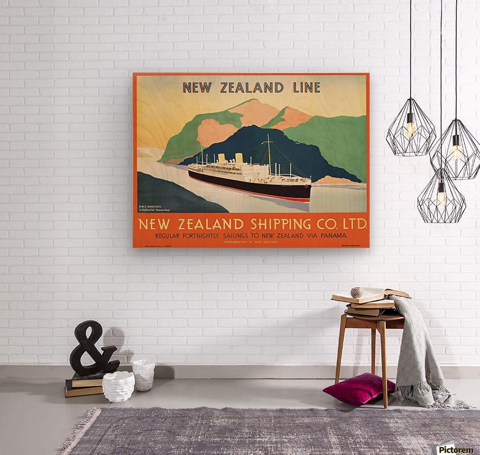 Vintage travel advert for transport to New Zealand via Panama  Wood print