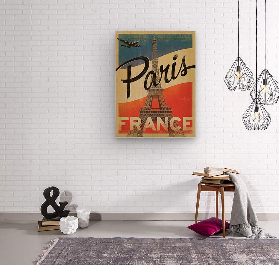 Paris France Vintage Poster  Wood print