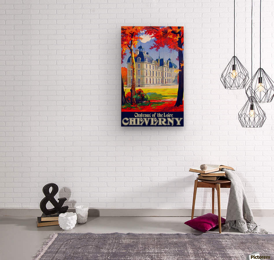 Chateaux of the Loire Cheverny travel poster  Wood print