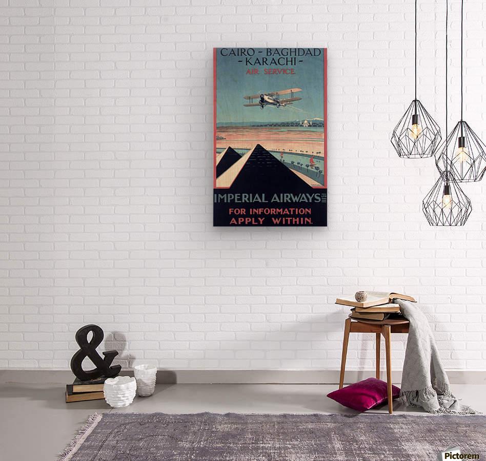 Airways Cairo Baghdad Karachi Vintage Travel Poster  Wood print