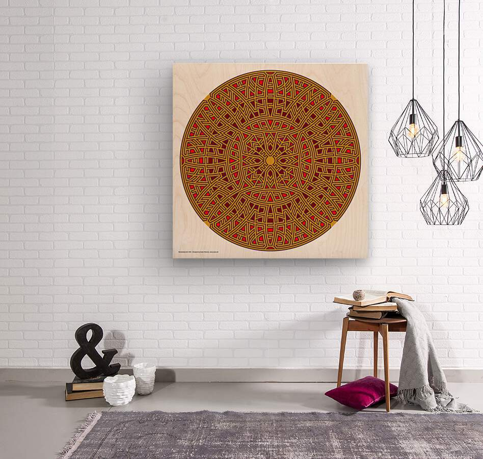 Mandalabyrinth 3502  Wood print