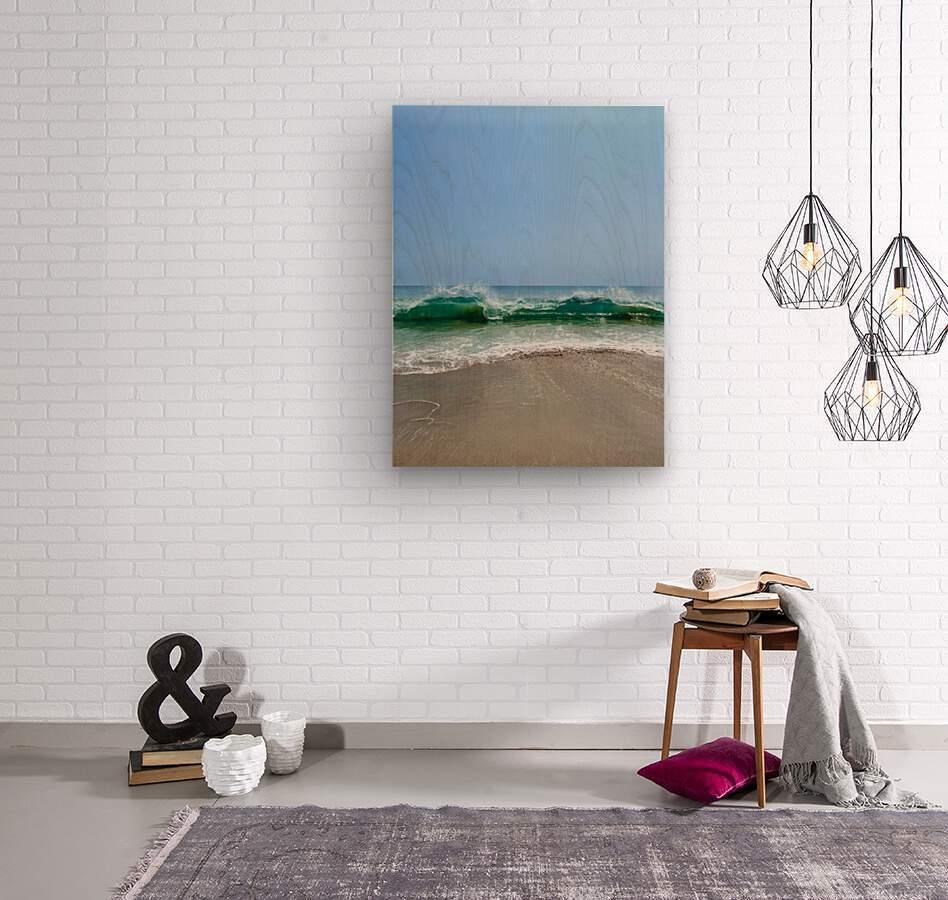 Crashing Waves - Malibu CA  Wood print