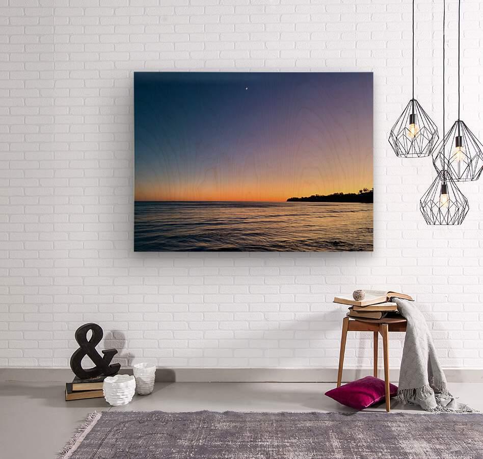 Sunset Moon - Malibu CA  Wood print
