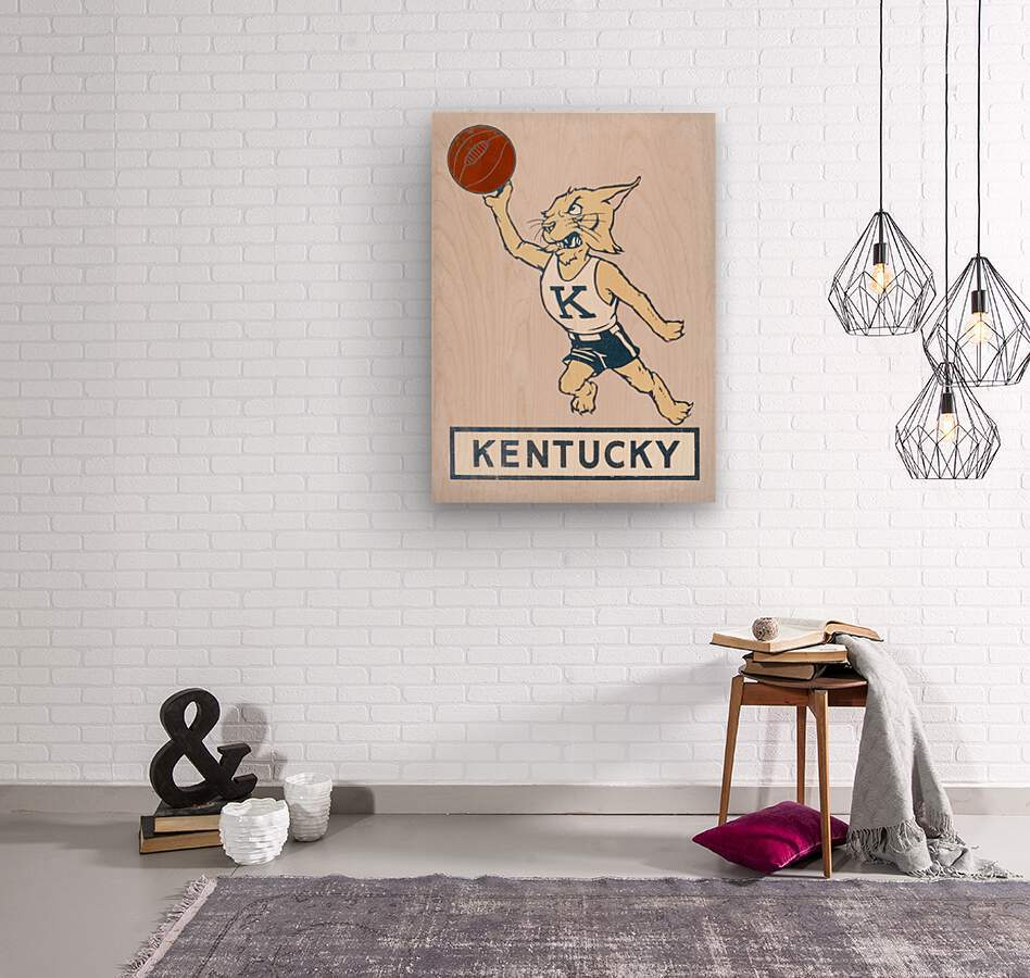 Vintage Kentucky Wildcat Basketball Art  Wood print