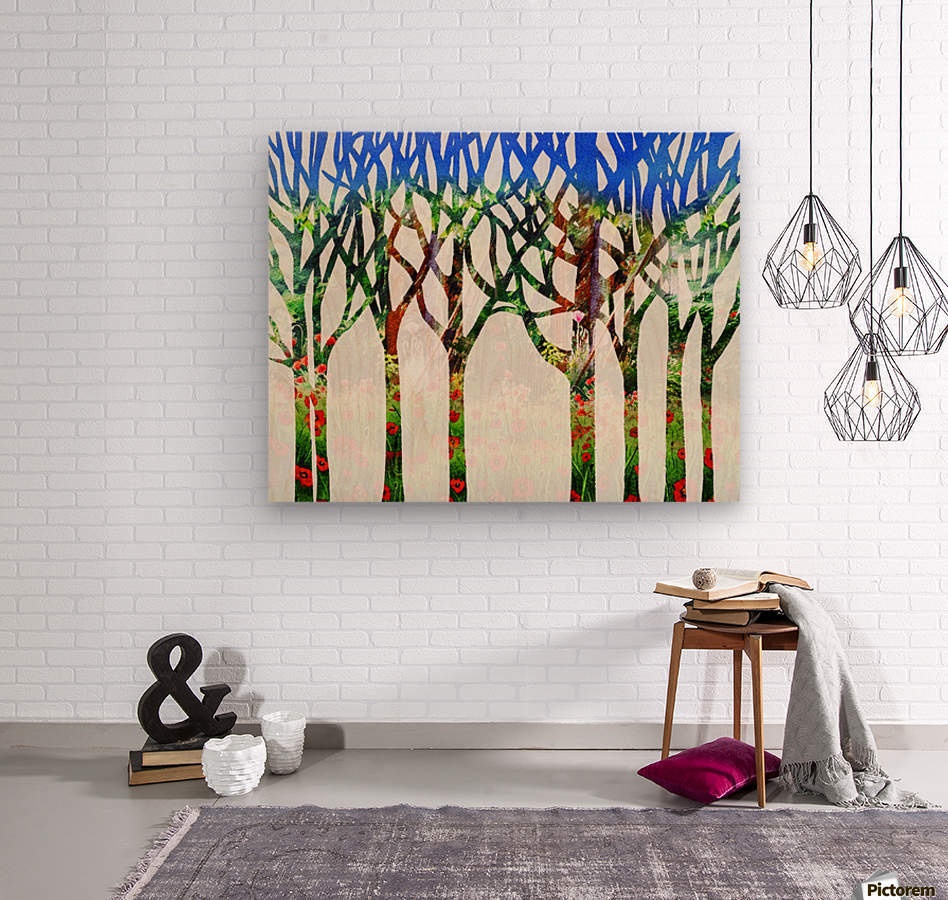 Watercolor Forest Silhouette Summer  Wood print