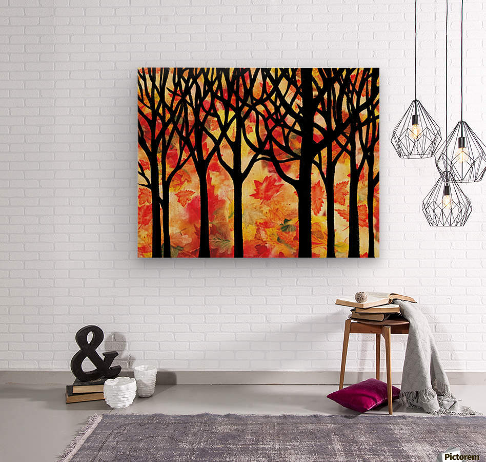 Fall In The Forest  Wood print