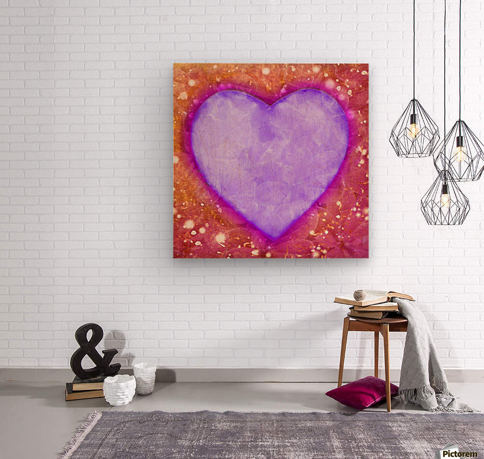 Vibrant Love Digital Art Collage  Wood print
