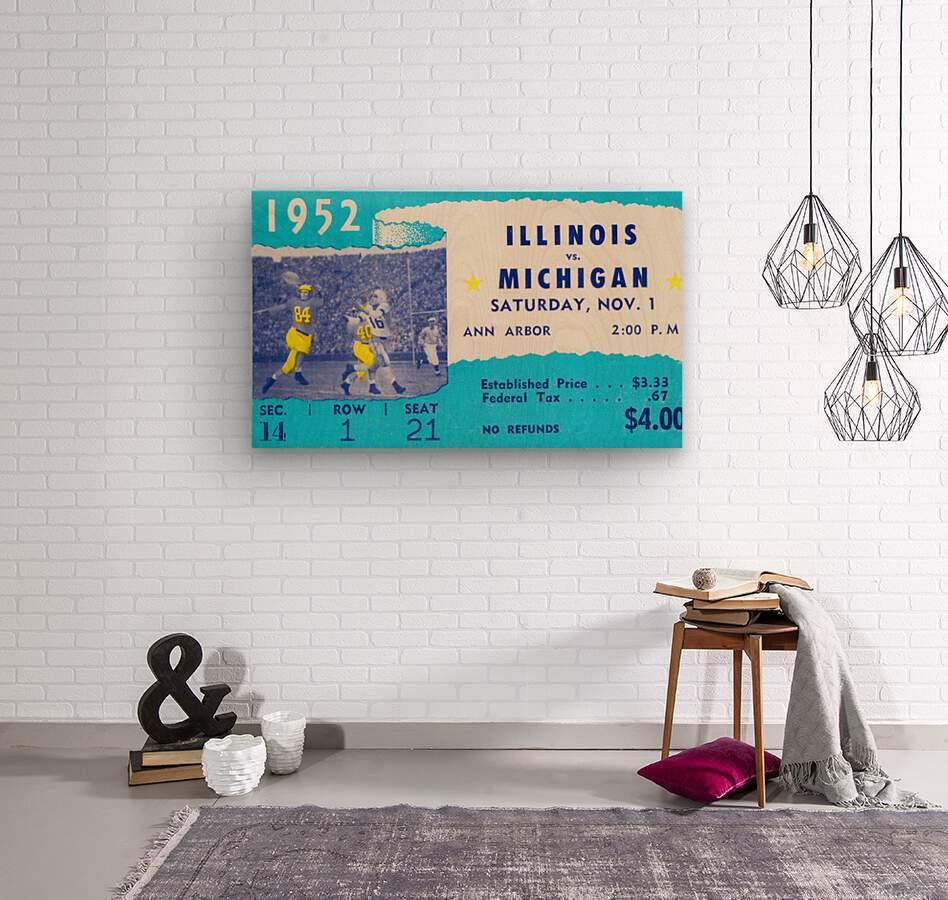 1952 Illinois vs. Michigan Football Ticket Stub Art  Wood print