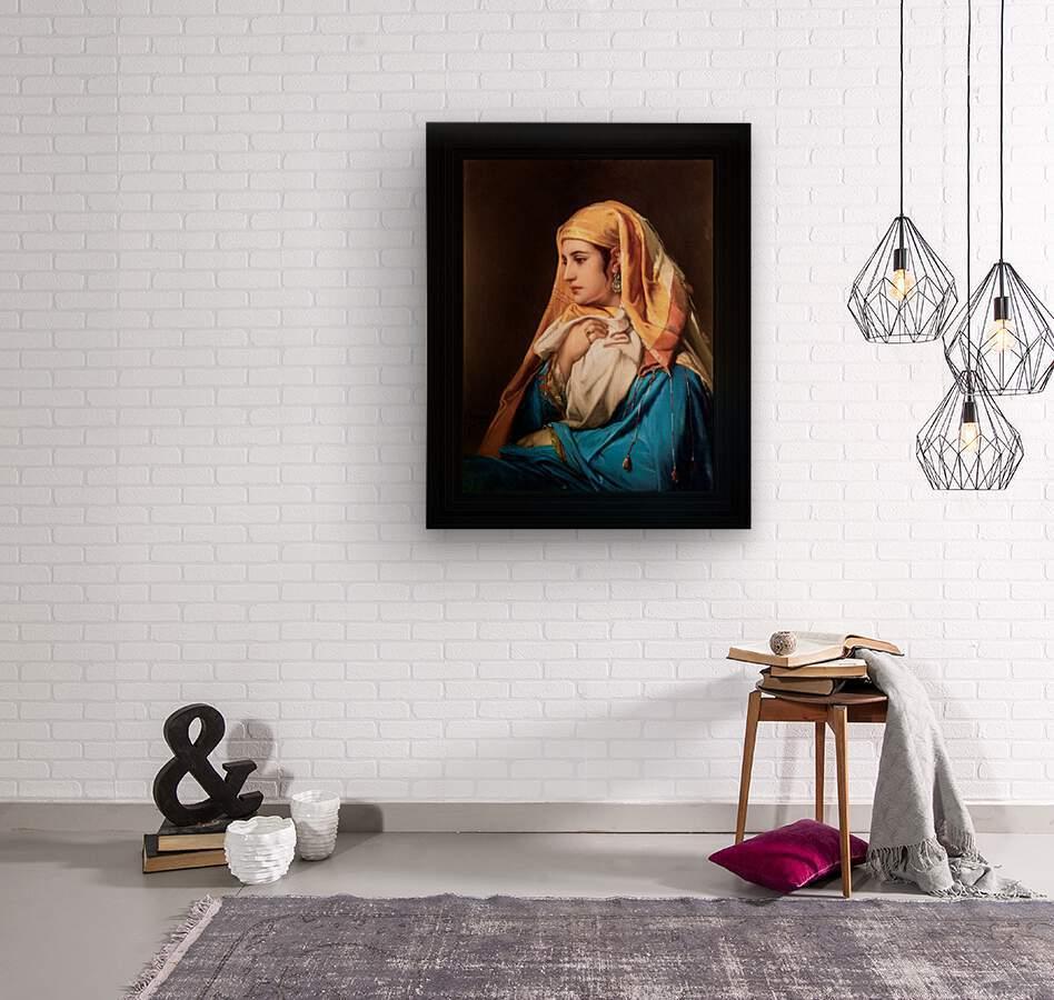 Contemplation by Belgian Painter Jean-Francois Portaels Classical Fine Art Xzendor7 Old Masters Reproductions  Wood print