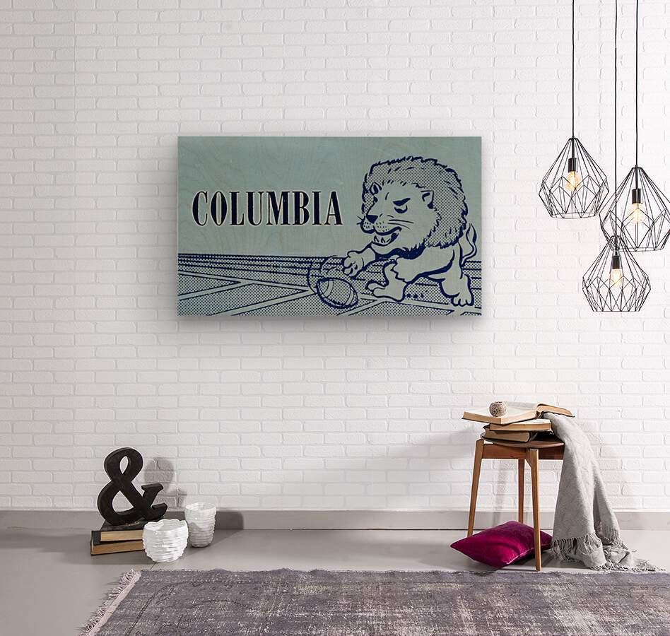 1961 Columbia Lions Football Ticket Stub Remix Art  Wood print