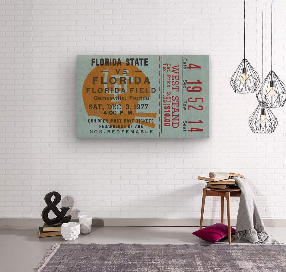 1977 Florida State vs. Florida Football Ticket Art  Wood print