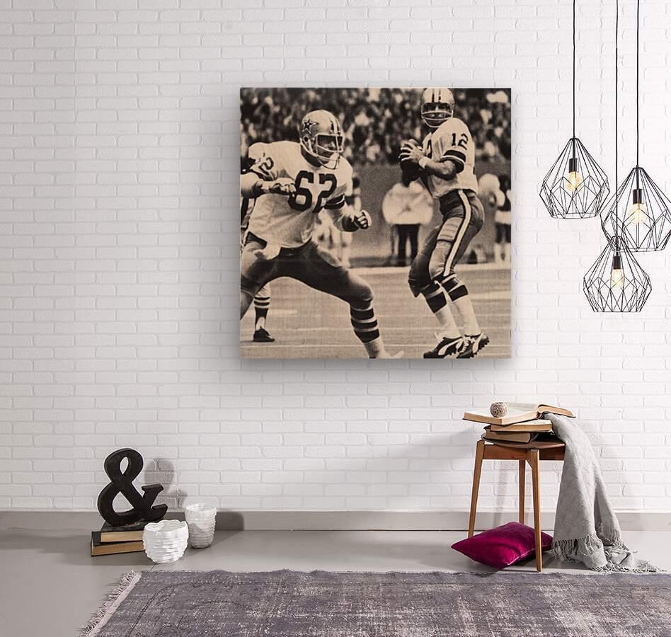Retro Dallas Cowboys Roger Staubach Photo Art  Wood print