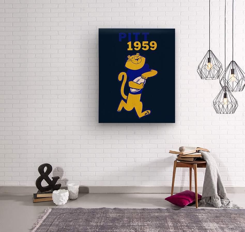 1959 Pitt Panther Vintage Football Art  Wood print