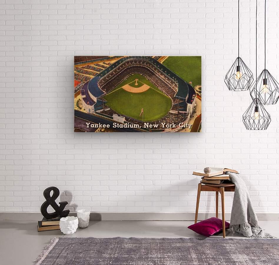 Vintage Yankee Stadium Postcard Art  Wood print