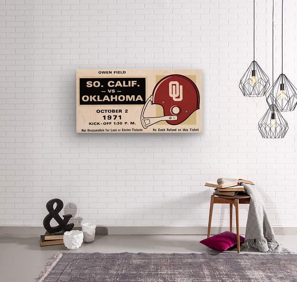 1971 USC vs. Oklahoma Football Ticket Stub Remix Art   Wood print