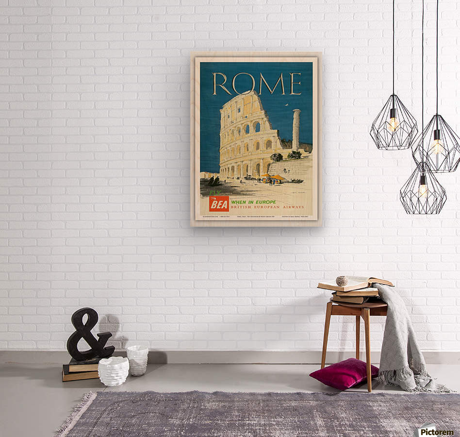 British European Airways travel poster for Rome  Wood print