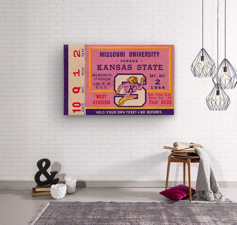 1954 Missouri Tigers vs. Kansas State Wildcats Ticket Stub Art  Wood print