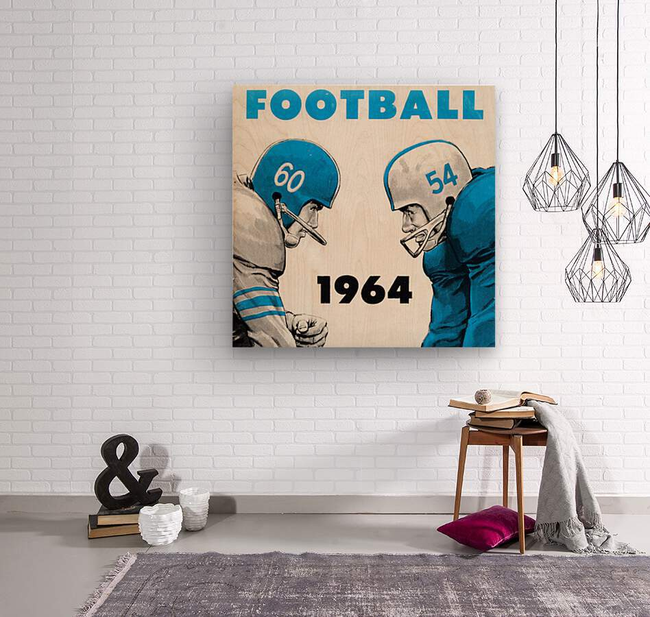 1964 Linemen Football Art  Wood print