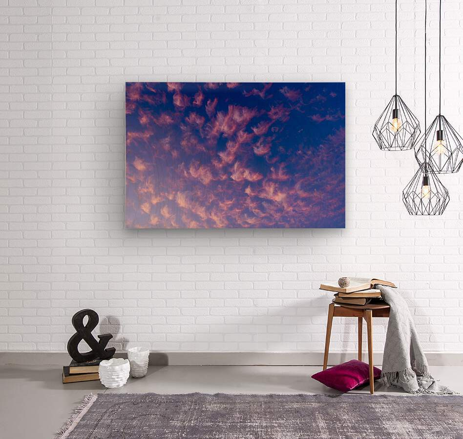 Pink and White Cotton Candy Skies over the Pacific Northwest   Abstract Expressionist Robert Stanek Original  Wood print