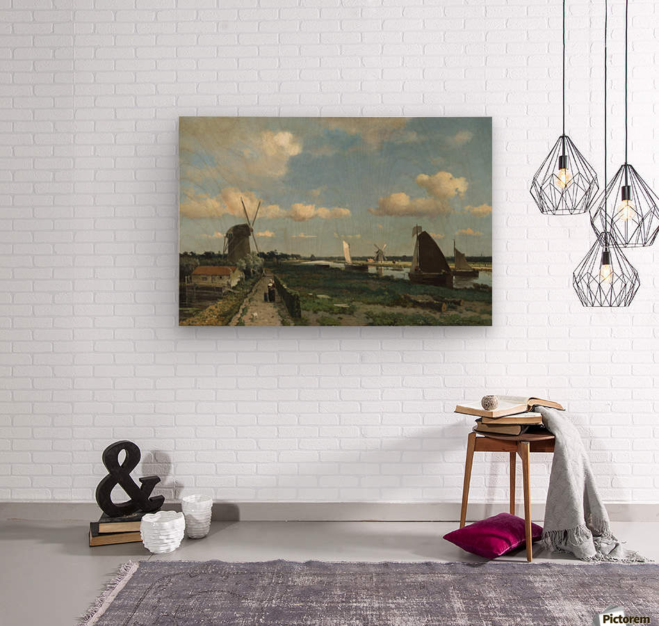 Dutch landscape with mill and figures  Wood print