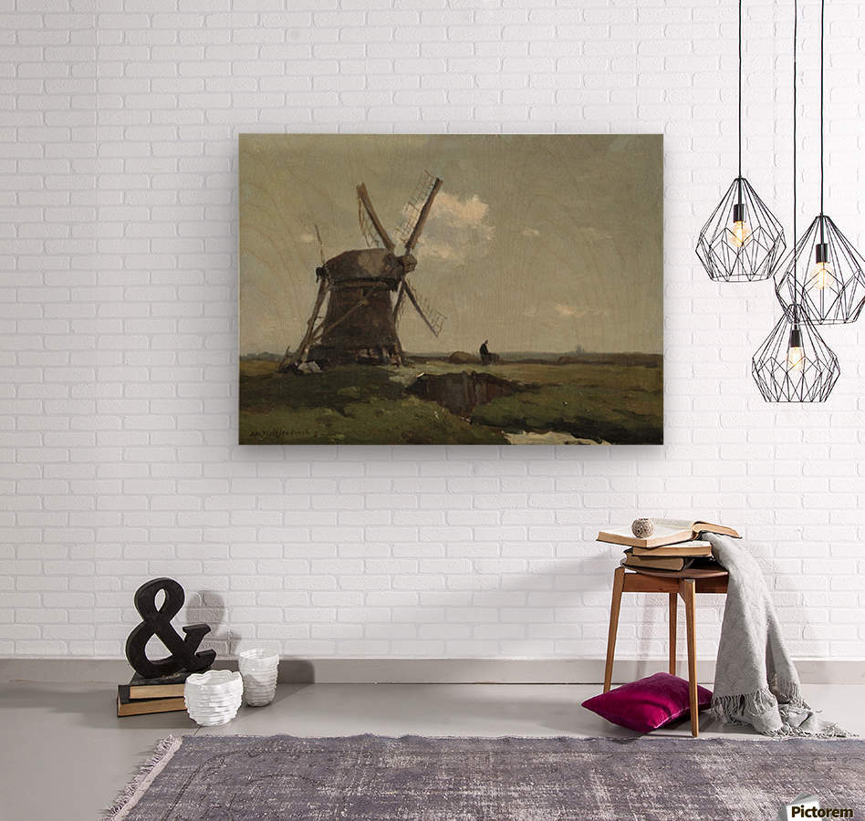 Windmill in a polder landscape, near Noorden  Wood print