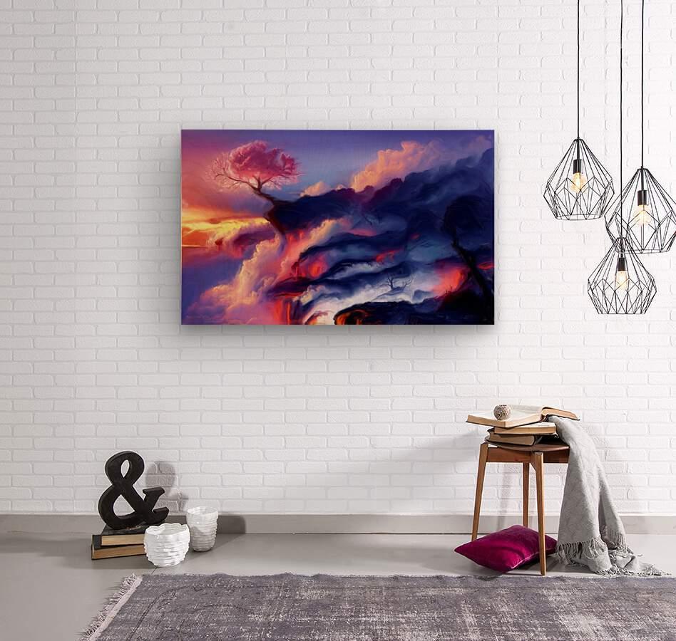 Fiery Mountain  Wood print