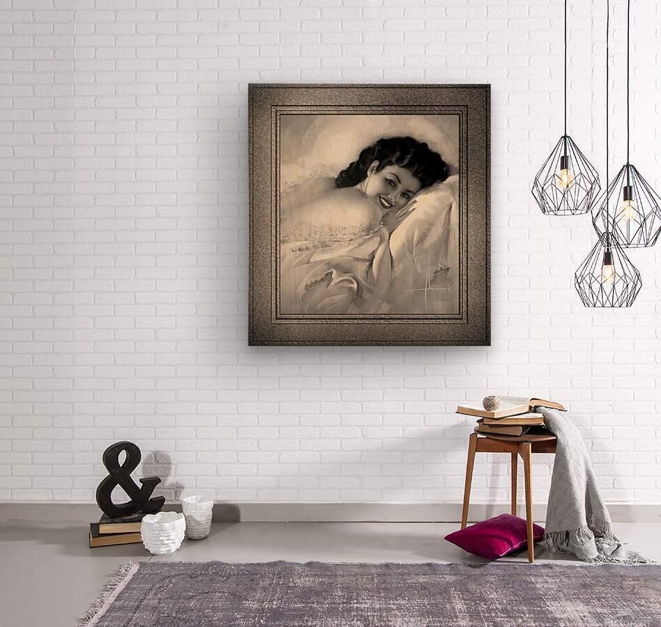 Sweet Dreams by Rolf Armstrong Vintage Illustration Xzendor7 Art Reproductions BW  Wood print